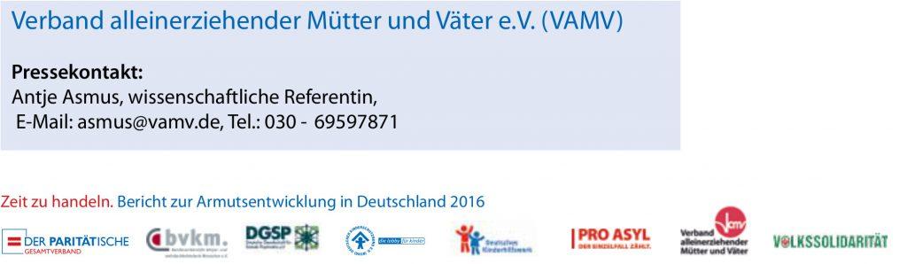Kontakt und Logos Pressestatement VAMV BV Armutsbericht